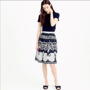 Jcrew Navy And White lace midi skirt